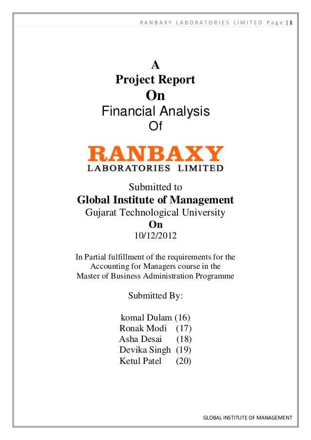 RANBAXY LABORATORIES LIMITED Page |1                  A            Project Report                     On        Financial ...