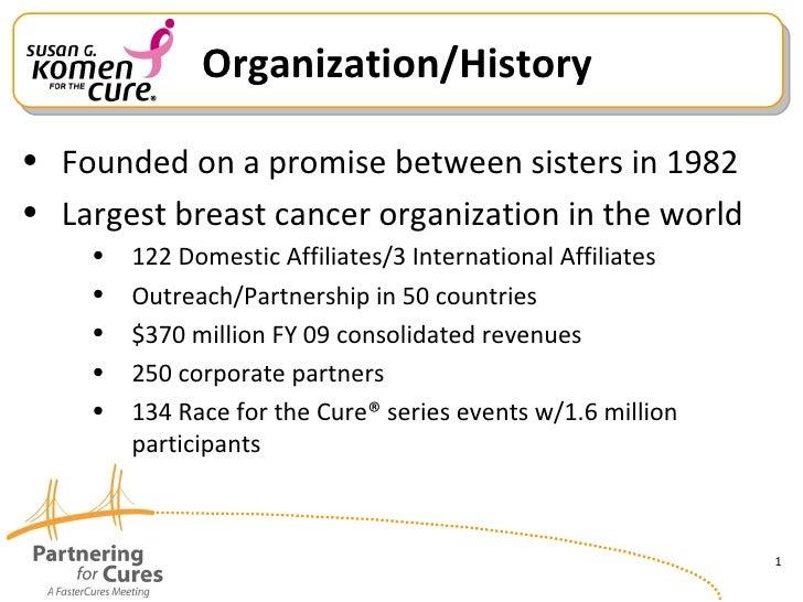 Organization/History <ul><li>Founded on a promise between sisters in 1982 </li></ul><ul><li>Largest breast cancer organi...
