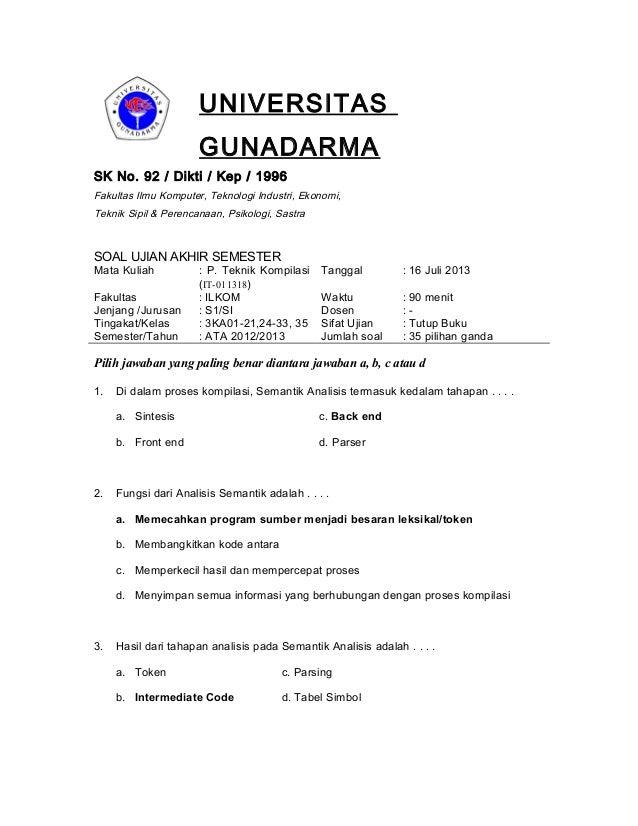 UNIVERSITAS GUNADARMA SK No. 92 / Dikti / Kep / 1996 Fakultas Ilmu Komputer, Teknologi Industri, Ekonomi, Teknik Sipil & P...