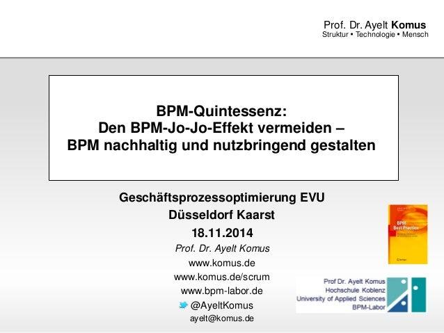 www.komus.de Struktur  Technologie  Mensch Prof. Dr. Ayelt Komus BPM-Quintessenz: Den BPM-Jo-Jo-Effekt vermeiden – BPM n...