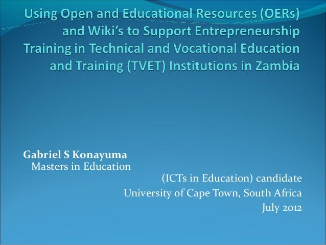 Using OERs & Wiki's to Support Entrepreneurship Training in TVET Institutions in Zambia