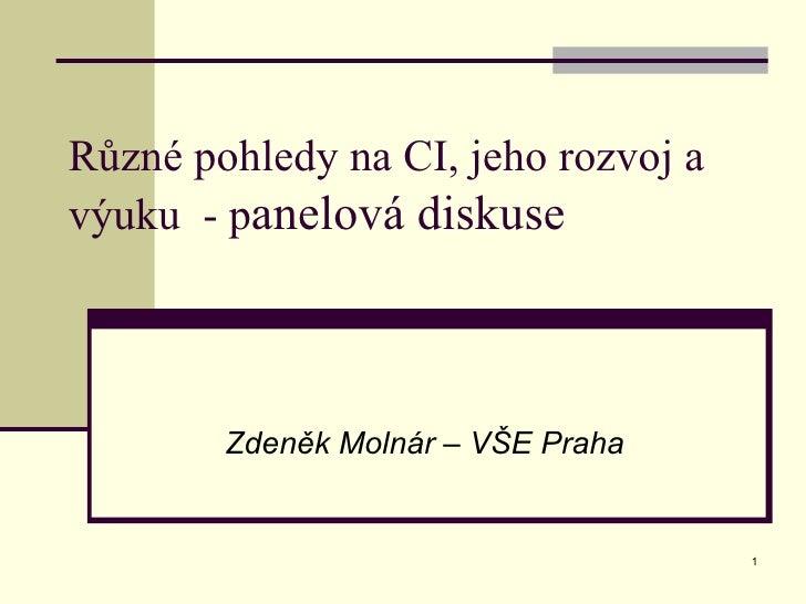Různé pohledy na CI, jeho rozvoj a výuku  - p anelová diskuse Zdeněk Molnár – VŠE Praha