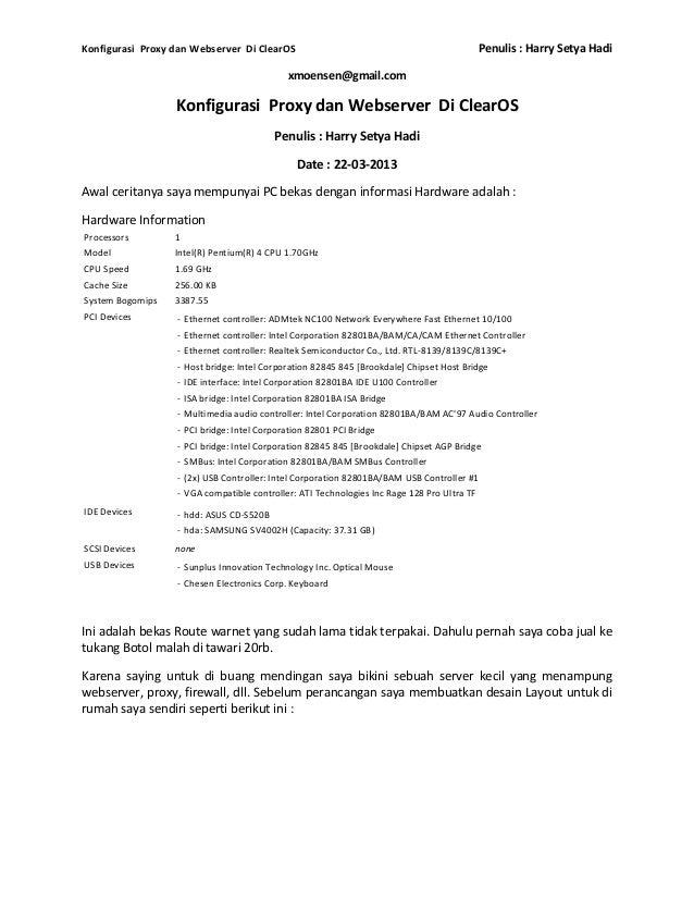 Konfigurasi Proxy dan Webserver Di ClearOS                                                  Penulis : Harry Setya Hadi    ...
