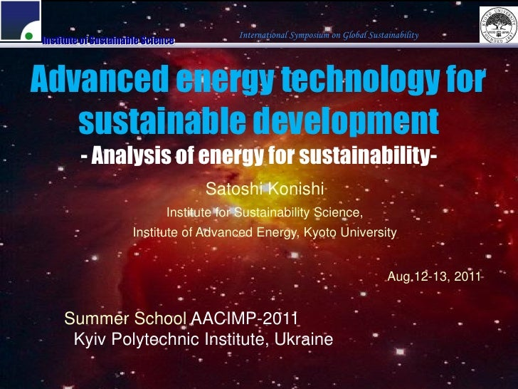 Advanced energy technology for sustainable development. Part 1