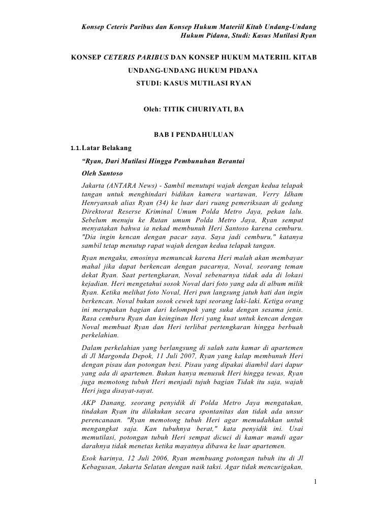 Konsep ceteris paribus dan konsep meteriil kitab undang