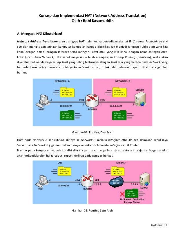 Konsep dan Implementasi NAT (Network Address Translation)Oleh : Robi KasamuddinA. Mengapa NAT Dibutuhkan?Network Address T...