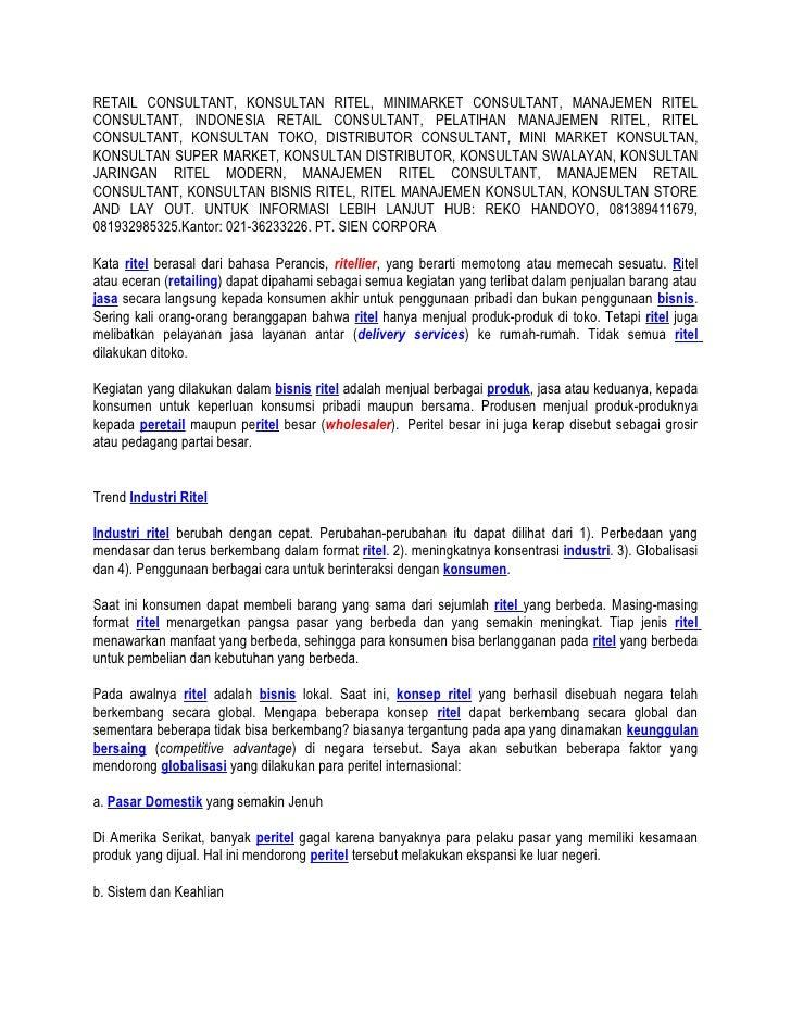 RETAIL CONSULTANT, KONSULTAN RITEL, MINIMARKET CONSULTANT, MANAJEMEN RITEL CONSULTANT, INDONESIA RETAIL CONSULTANT, PELATI...
