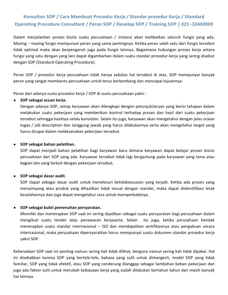 Konsultan SOP / Cara Membuat Prosedur Kerja / Standar prosedur Kerja / StandardOperating Procedure Consultant / Peran SOP ...