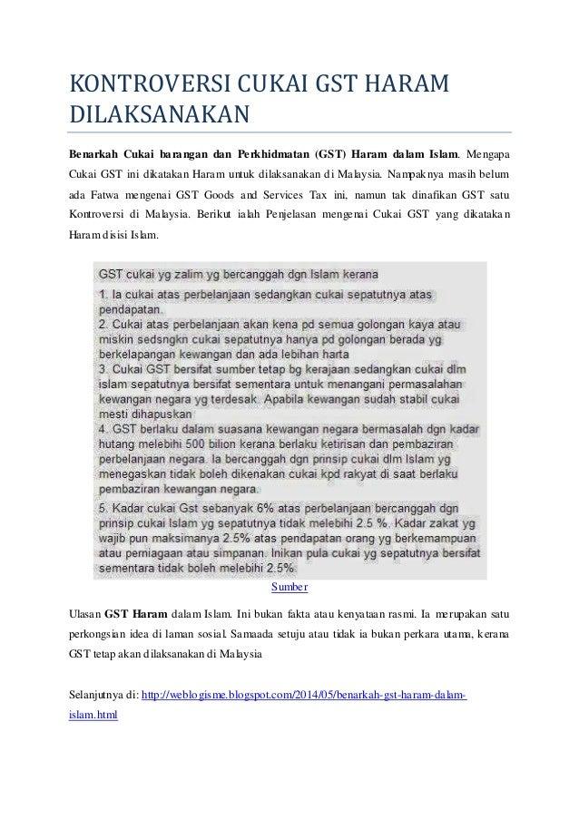 Kontroversi Cukai GST Haram Dilaksanakan