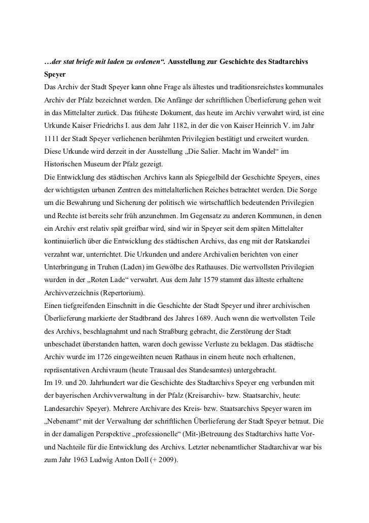 """…der stat briefe mit laden zu ordenen"""". Ausstellung zur Geschichte des StadtarchivsSpeyerDas Archiv der Stadt Speyer kann ..."""