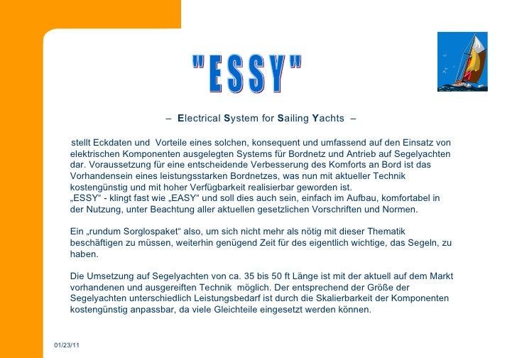 """19.12.10 """" E S S Y """"   –  E lectrical  S ystem for  S ailing  Y achts  –  stellt Eckdaten und  Vorteile eines solchen, kon..."""