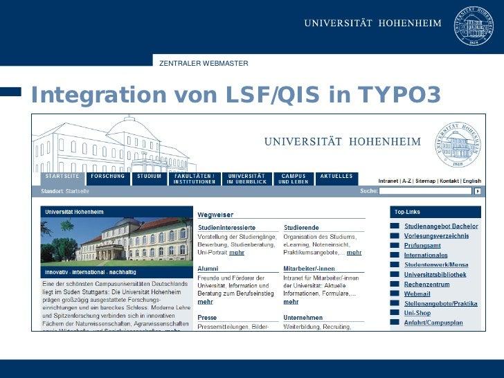 ZENTRALER WEBMASTER     Integration von LSF/QIS in TYPO3