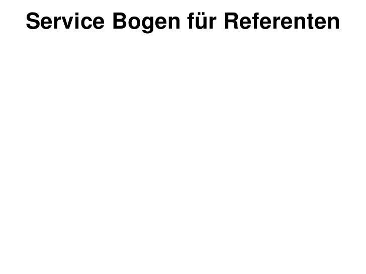 Service Bogen für Referenten