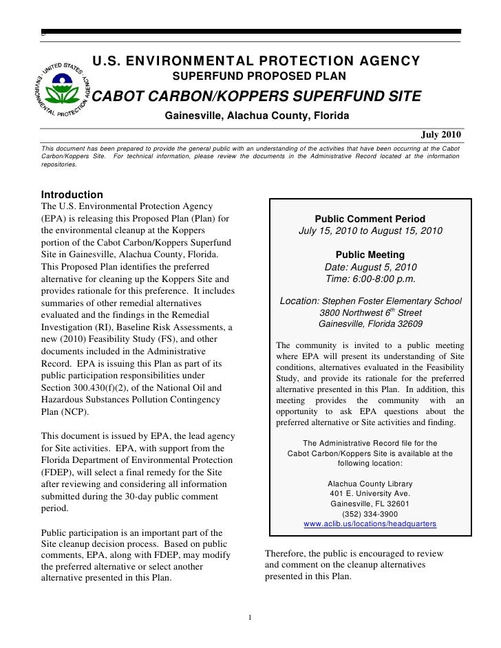 EPA Superfund Proposed Plan Cabot / Koppers Superfund Site