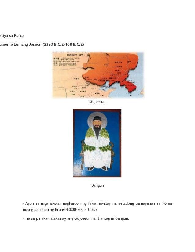 stiya sa Koreaoseon o Lumang Joseon (2333 B.C.E-108 B.C.E)                                                   Gojoseon     ...