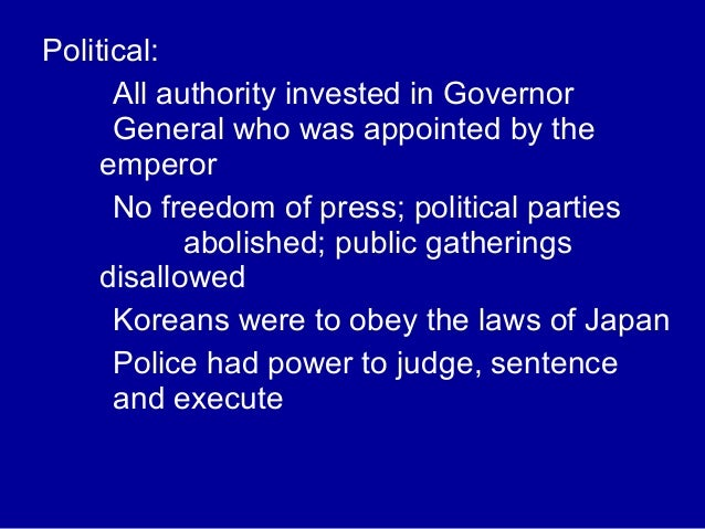an overviews of the japanese colonization in korea and its impact Japan's colonization of korea and its effect on the colonization of korea by japan had a major impact what impact did the colonization have on the.