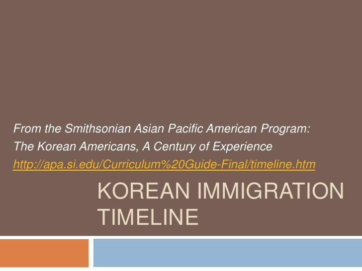 Korean Immigration Timeline<br />From the Smithsonian Asian Pacific American Program: <br />The Korean Americans, A Centur...