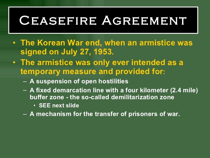 Ceasefire Agreement  Korean War