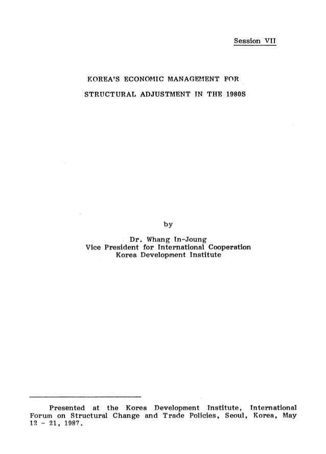 Korea's Economic Management for Structural Adjustment in the 1980s (Sessio…