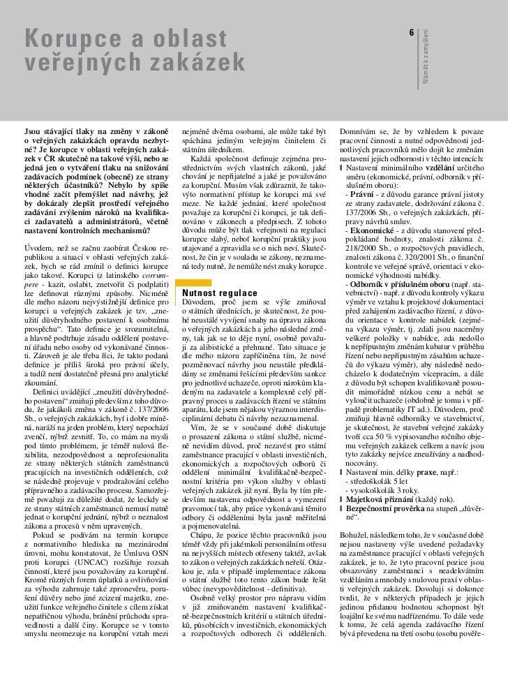 Korupce & zákon o veřejných zakázkách