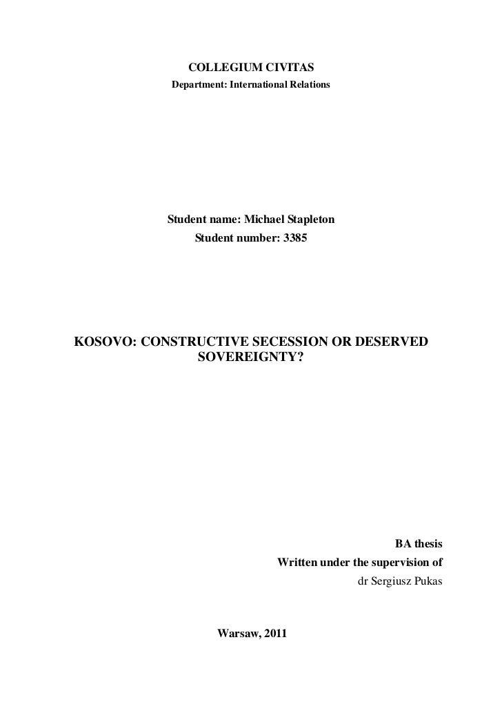 COLLEGIUM CIVITAS           Department: International Relations           Student name: Michael Stapleton                S...