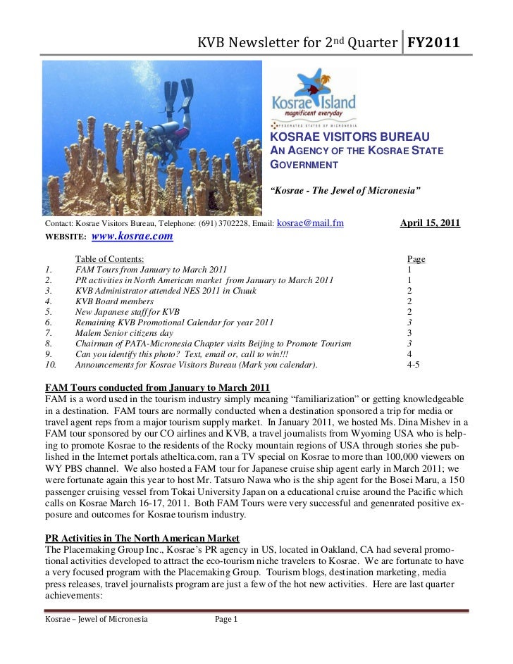 Kosrae visitors bureau newsletter for 2nd quarter  fy2011