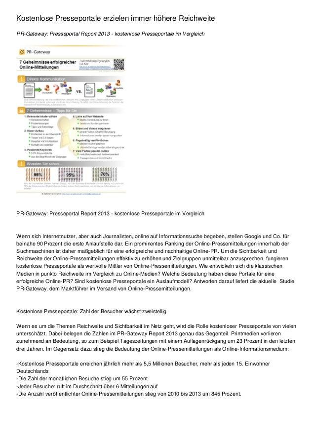 Kostenlose Presseportale erzielen immer höhere ReichweitePR-Gateway: Presseportal Report 2013 - kostenlose Presseportale i...
