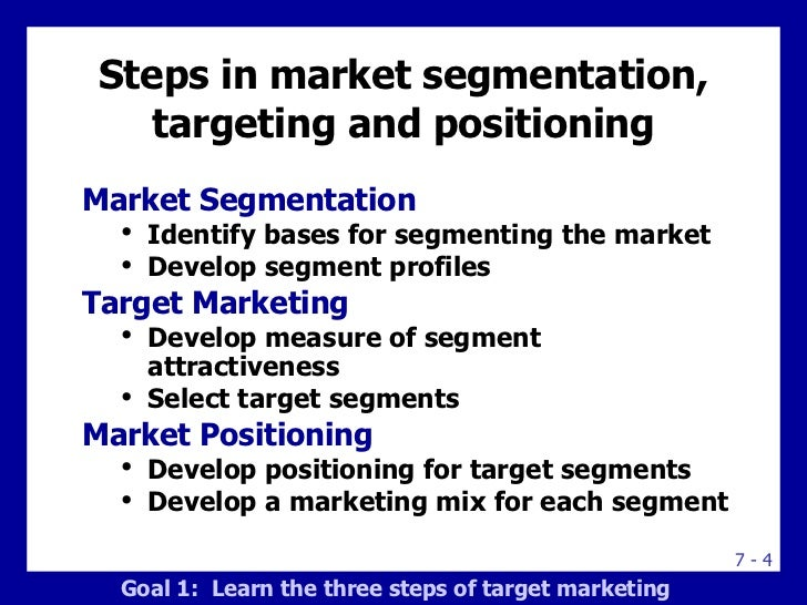 what is the relationship among market segmentation target marketing and positioning Segmentation - targeting – positioning eureka facts, the smart marketing information 1 segmentation – targeting – positioning  the process of market segmentation can also consist of the selection of those segments for  marketing mixes for target segments the outcome of the.