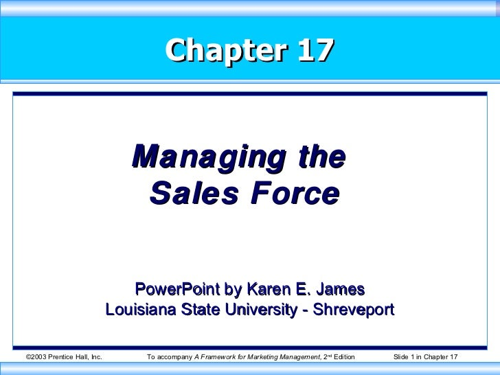 Chapter 17 Managing the  Sales Force PowerPoint by Karen E. James Louisiana State University - Shreveport