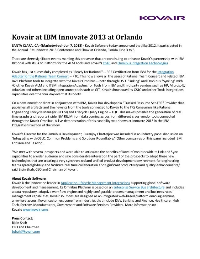 Kovair at IBM Innovate 2013 at Orlando