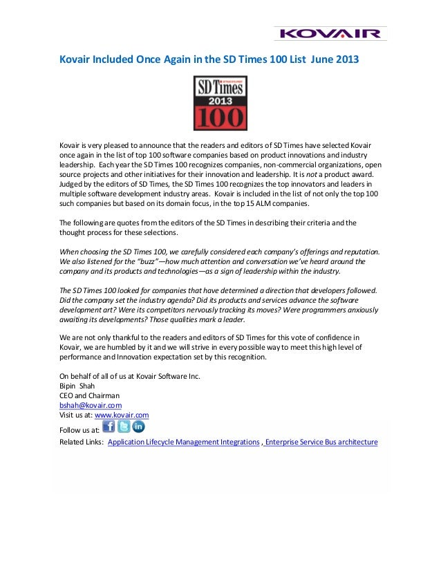 Kovair Included Once Again in the SD Times 100 List June 2013Kovair is very pleased to announce that the readers and edito...