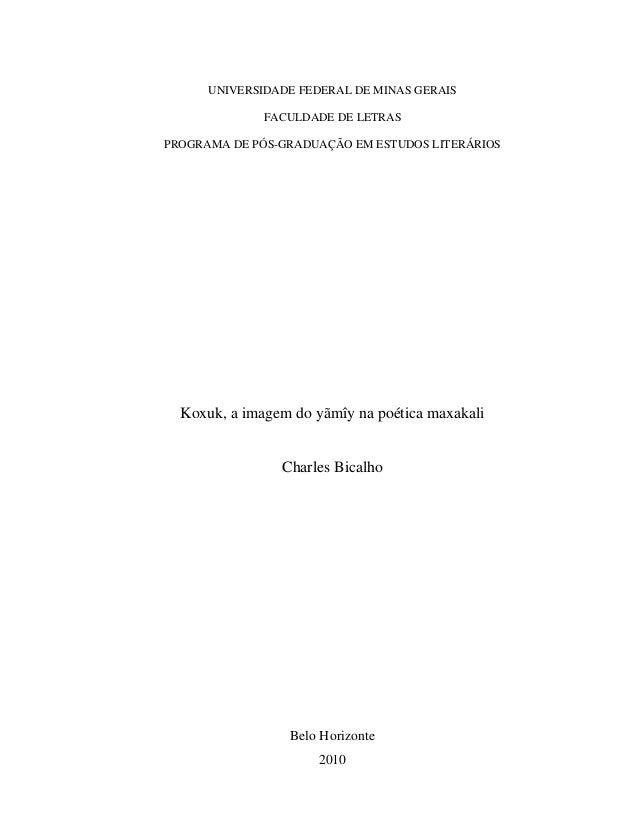 UNIVERSIDADE FEDERAL DE MINAS GERAIS              FACULDADE DE LETRASPROGRAMA DE PÓS-GRADUAÇÃO EM ESTUDOS LITERÁRIOS  Koxu...