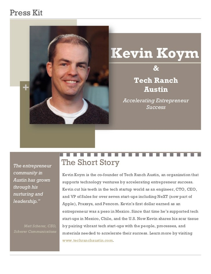 Kevin Koym Press Kit