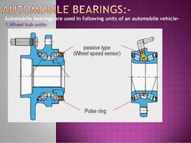 Automobile bearings are used in following units of an automobile vehicle-1.Wheel hub units-