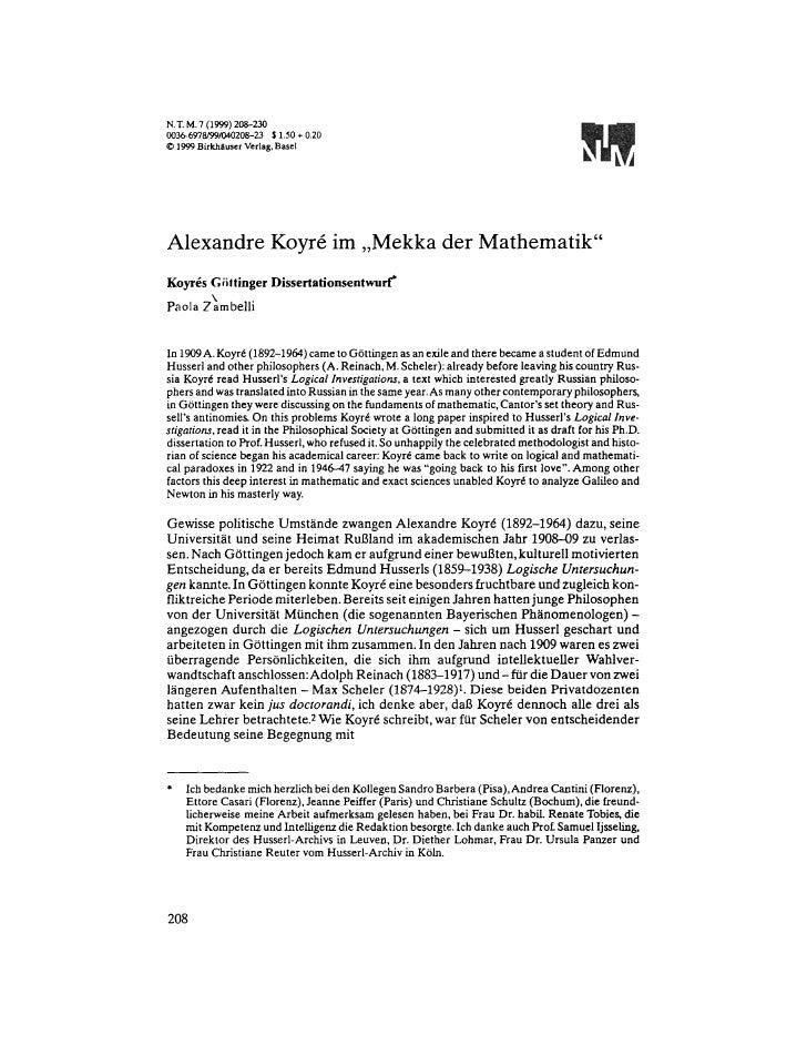 NT. M.7 (1999)208-230 0036-6978/99/040208-,23 $1.50 + 0.20 9 1999BirkhtluserVerlag.Basel     Alexandre Koyr6 im ,,Mekka de...