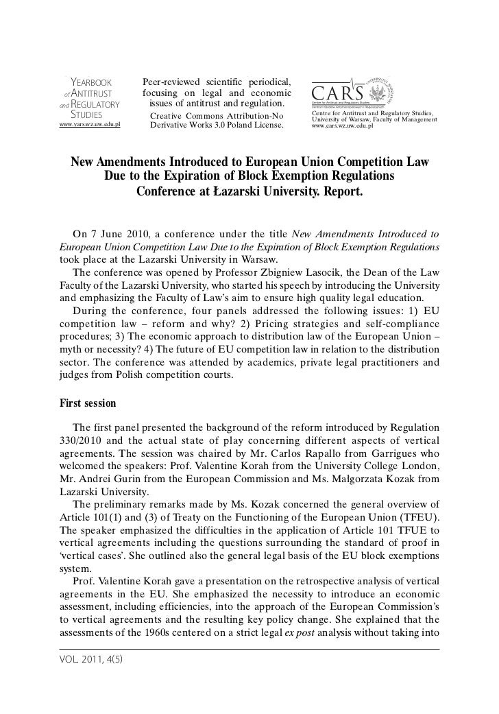 New Amendments Introduced to European Union Competition Law Due to the Expiration of Block Exemption Regulations Conference at Łazarski University. Report