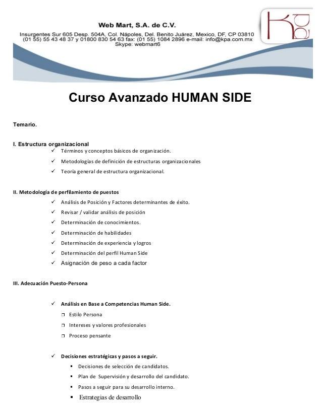 Curso Avanzado HUMAN SIDE Temario. I. Estructura organizacional ü Términos y conceptos básicos de organización. ü Metodolo...