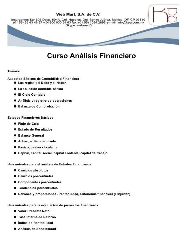 Kpa Temario Curso Finanzas para No Financieros