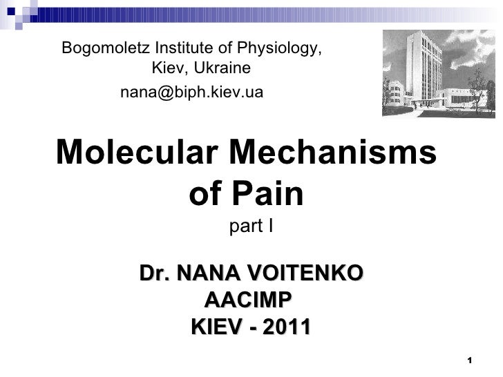 Bogomoletz Institute of Physiology, Kiev, Ukraine [email_address] Dr. NANA VOITENKO AACIMP   KIEV - 2011 Molecular Mechani...