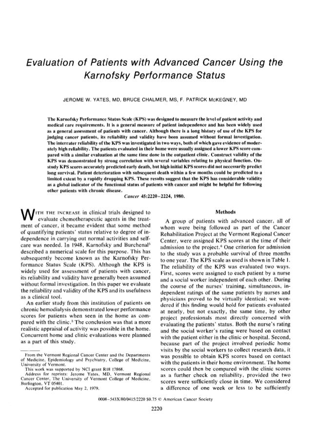 Evaluation of Patients with Advanced Cancer Using the              Karnofsky Performance Status                    JEROME ...