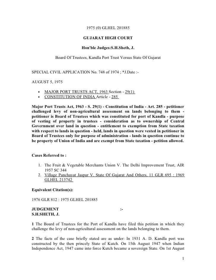 Kandla Port Trust vs State of Gujarat