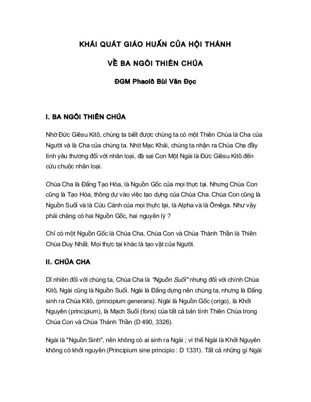 KHÁI QUÁT GIÁO HUẤN CỦA HỘI THÁNH                       VỀ BA NGÔI THIÊN CHÚA                         ĐGM Phaolô Bùi Văn Đ...
