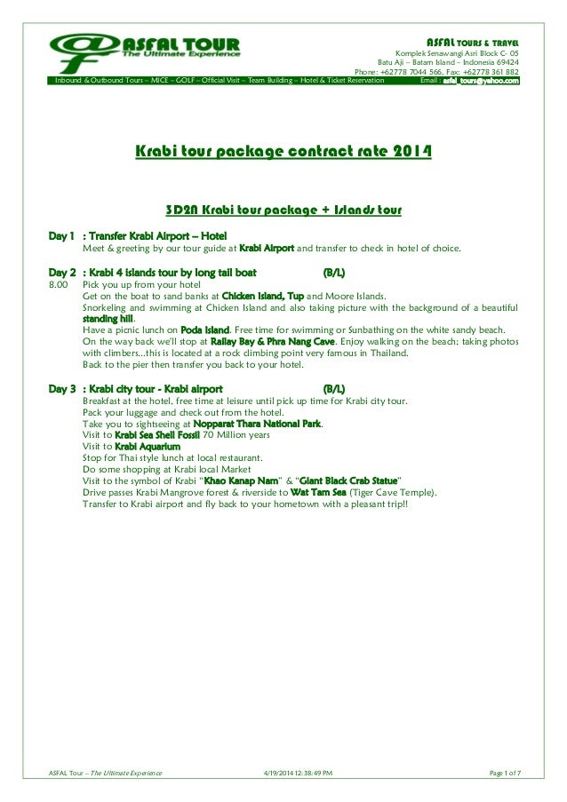 Krabi tour package contract rate 2014