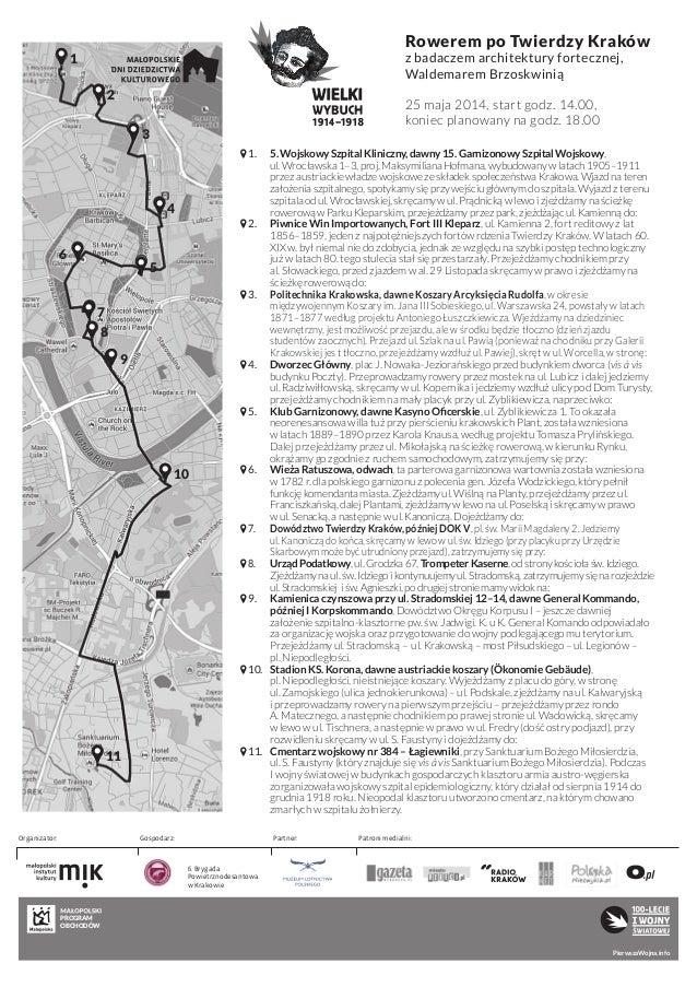 Kraków, wycieczka rowerowa po Twierdzy Kraków, mapa