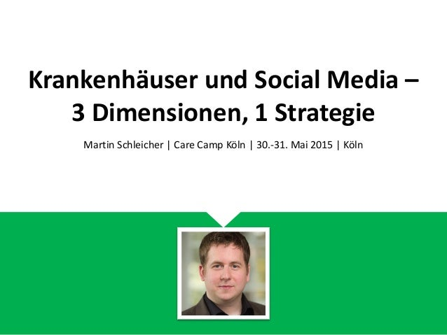 Krankenhäuser und Social Media – 3 Dimensionen, 1 Strategie Martin Schleicher | Care Camp Köln | 30.-31. Mai 2015 | Köln