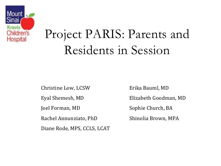 Project PARIS: Parents and Residents in Session Christine Low, LCSW Erika Bauml, MD  Eyal Shemesh, MD Elizabeth Goodman, M...