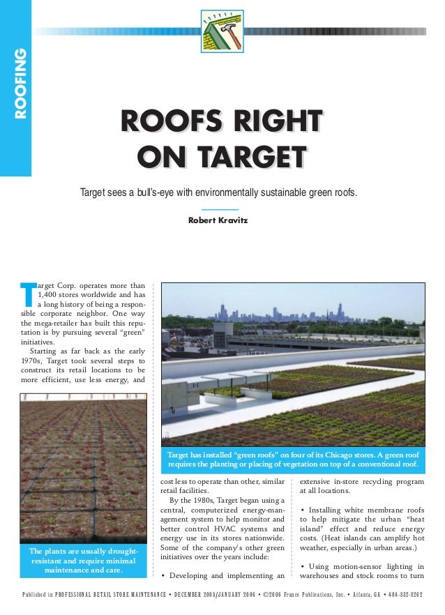 ROOFS RIGHT ON TARGET - sustainable green roofs brochure
