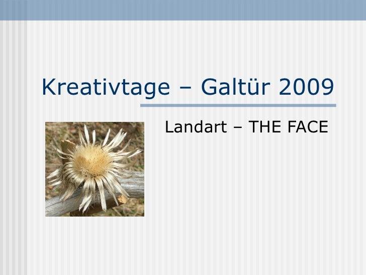 Kreativtage – Galtür 2009 Landart – THE FACE