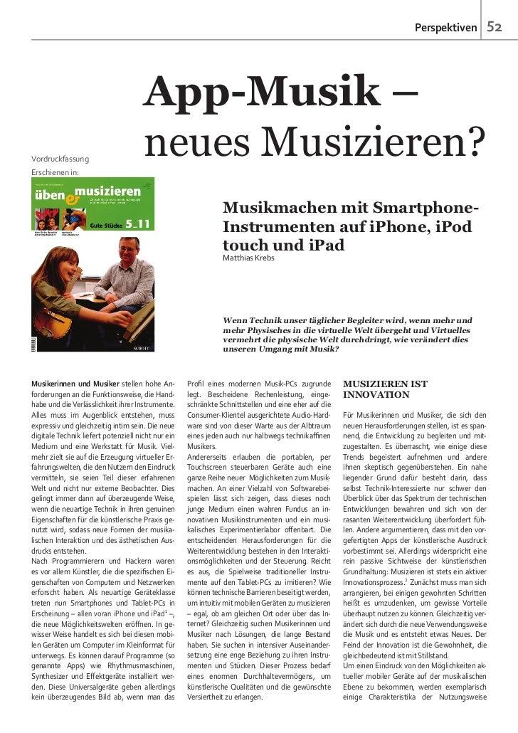 App-Musik – neues Musizieren? Musikmachen mit Smartphone- Instrumenten