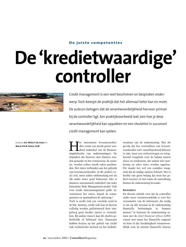 De juiste competenties     De 'kredietwaardige'      controller                                               Credit manag...